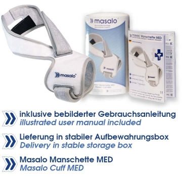Delivery of the Masalo Cuff MED will include an illustrated user manual and cuff will come in a stable storage box