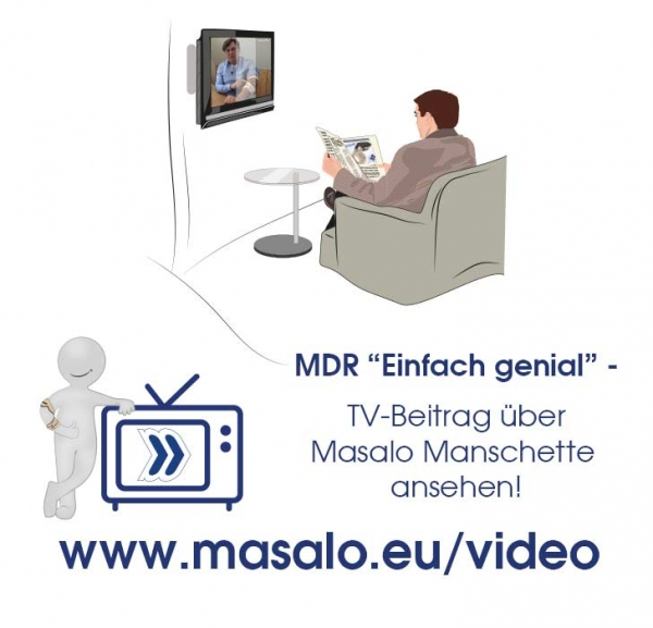 German TV report about the Masalo Cuff in the ARD media centre about tennis elbow