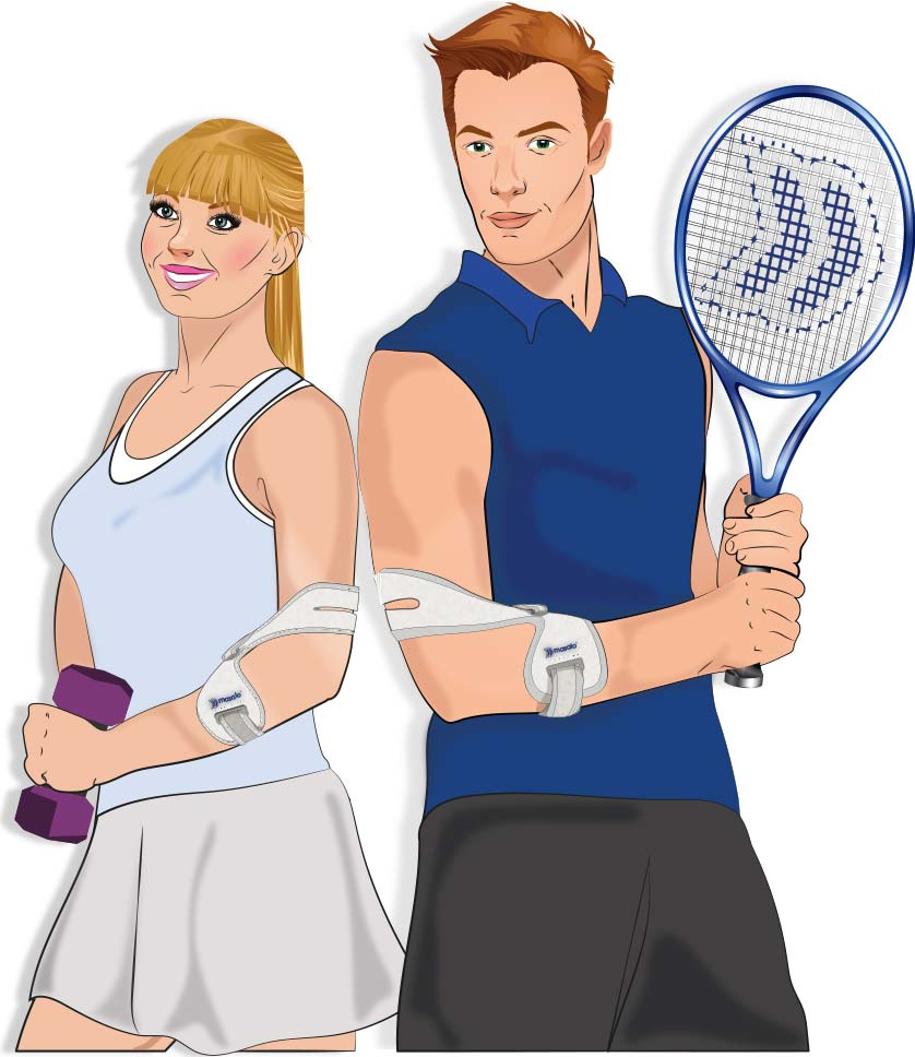 Illustration of the Masalo Cuff against tennis elbow, golfers elbow (epicondylitis) which is worn by a female athlete and a male tennis player