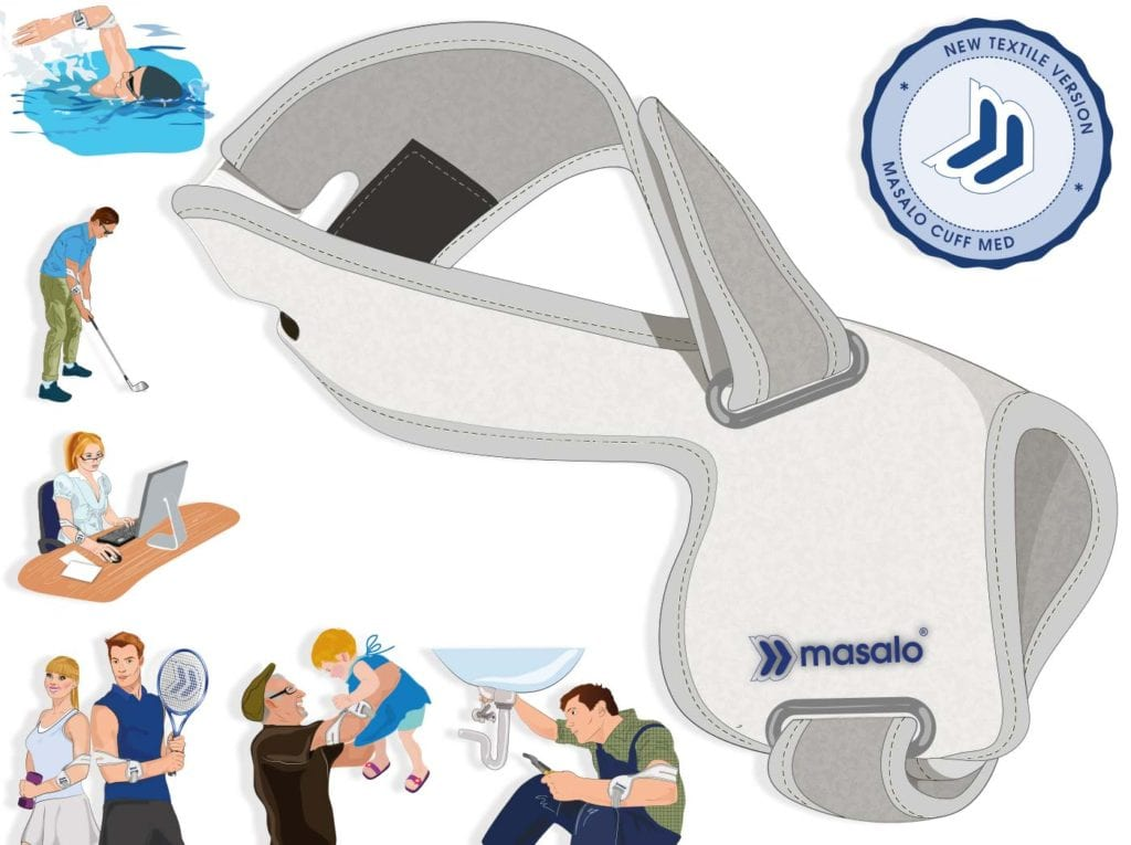 Illustration of the Masalo Cuff MED tennis elbow brace