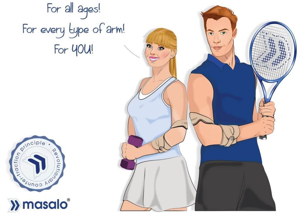 masalo cuff against tennis elbow with revolutionary counter-traction principle